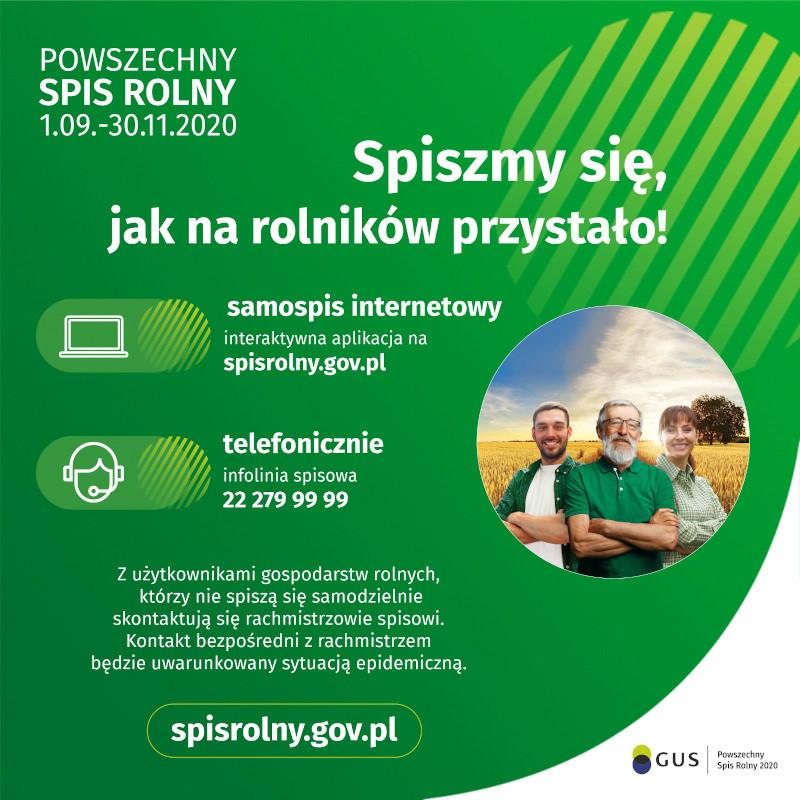 Plakat informacyjny Powszechnego Spisu Rolnego 2020 r.