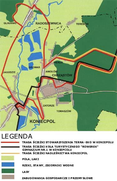mapa trasy ścieżki rowerowej